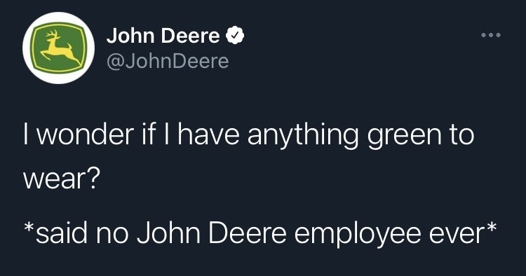 John Deere Tweet